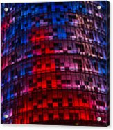 Bright Blue Red And Pink Illumination - Agbar Tower Barcelona Acrylic Print