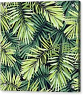 Bright Green Background With Tropical Acrylic Print