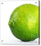 Bright Green Wet Lime Over White Acrylic Print