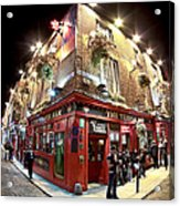 Bright Lights Of Temple Bar In Dublin Ireland Acrylic Print by Mark E Tisdale