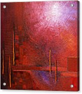 bright red modern abstract IN TOUCH WITH YOUR SOUL by Chakramoon Acrylic Print