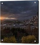 Bright Seattle Sunstar Dusk Skyline Acrylic Print