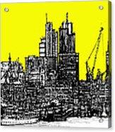 Dark Ink With Bright Yellow London Skies Acrylic Print