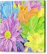 Brightly Coloured Flowers Acrylic Print by Bav Patel