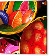Brightly Painted Bowls At A Market - Mexico - Travel Photography By David Perry Lawrence Acrylic Print
