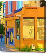 Bring Your Own Wine Restaurant Vents Du Sud Rue Roy Corner French Cafe Street Scene Carole Spandau Acrylic Print