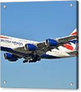 British Airways Airbus A380-841 G-xlee Los Angeles International Airport January 19 2015 Acrylic Print