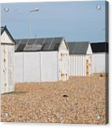 British Beach Huts In Sussex Acrylic Print
