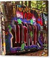 British Columbia Train Wreck Graffiti Acrylic Print