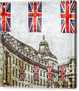 British Flags Flying Above Regent St Acrylic Print