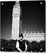 british metropolitan police office guarding the houses of parliament London England UK Acrylic Print
