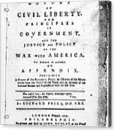 British Pamphlet, 1776 Acrylic Print