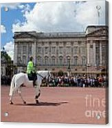 British Royal Guards Riding On Horse And Perform The Changing Of The Guard In Buckingham Palace Acrylic Print