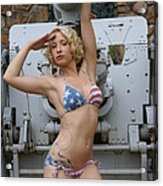 Brittany Usa Flag Bikini With Cannon Acrylic Print