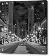 Broad Street At Night In Black And White Acrylic Print