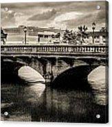 Broadway Bridge With Clouds Acrylic Print