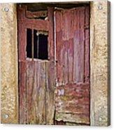 Broken Red Wood Door Acrylic Print