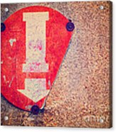 Broken Round Sign With Arrow Acrylic Print