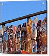 Broken Skateboard Fence Acrylic Print
