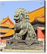 Bronze Lioness Forbidden City Beijing Acrylic Print by Colin and Linda McKie