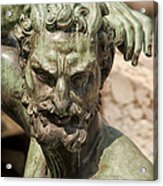 Bronze Satyr In The Fountain Of Neptune Of Florence Acrylic Print
