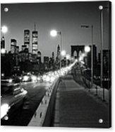 Brooklyn Bridge And Manhattan Skyline At Dusk 1980s Acrylic Print