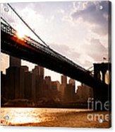 Brooklyn Bridge And Skyline Manhattan New York City Acrylic Print