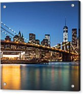 Brooklyn Bridge At Dusk Acrylic Print