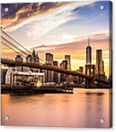 Brooklyn Bridge At Sunset  Acrylic Print