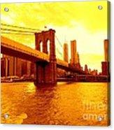 Brooklyn Bridge In Yellow Acrylic Print