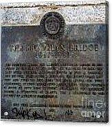 Brooklyn Bridge Plaque Acrylic Print