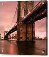 Brooklyn Bridge - Red Morning Acrylic Print by Gary Heller