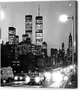 Brooklyn Bridge Traffic II Dusk 1980s Acrylic Print