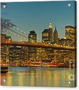Brooklyn Bridge Twilight Panoramic Acrylic Print