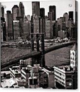 Brooklyn Bridge View In Sepia Acrylic Print