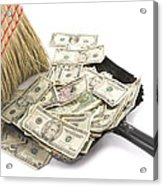 Broom Sweeping Up American Currency Acrylic Print