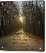 Brown County State Park Nashville Indiana Biblical Verse Acrylic Print