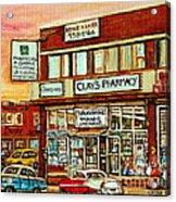 Brown Derby Van Horne Shopping Center Clay's Pharmacy Montreal Paintings City Scenes Carole Spandau Acrylic Print