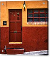 Brown Door In Mexico Acrylic Print