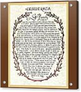 Brown Frame Color Wreath Desiderata Poem Acrylic Print