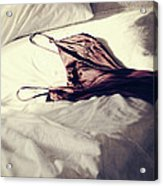 Brown Negligee Laying Across Sheets On Bed Acrylic Print by Sandra Cunningham