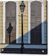 Brown Shutter Doors And Street Lamp - New Orleans Acrylic Print