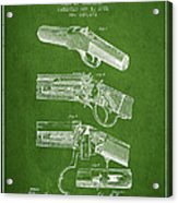 Browning Rifle Patent Drawing From 1921 - Green Acrylic Print
