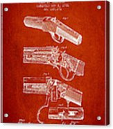 Browning Rifle Patent Drawing From 1921 - Red Acrylic Print