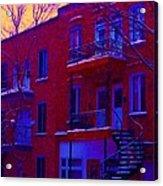 Brownstones In Winter 6 Acrylic Print