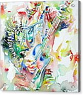 Bruce Springsteen Playing The Guitar Watercolor Portrait Acrylic Print