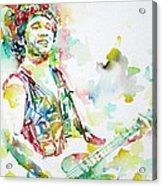 Bruce Springsteen Playing The Guitar Watercolor Portrait.2 Acrylic Print