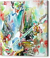 Bruce Springsteen Playing The Guitar Watercolor Portrait.3 Acrylic Print