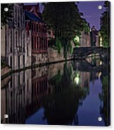 Bruges Canal Near Blind Donkey Alley  Acrylic Print