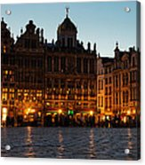 Brussels - Grand Place Facades Golden Glow Acrylic Print